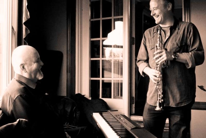 <p>Pete Woods on saxophone and Brian Browne on piano will be performing at Beacon United Church on Sept. 26.</p>