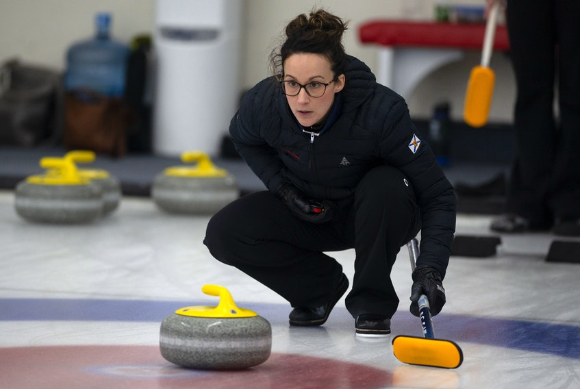 Skip Jill Brothers instructs her sweepers during a game at the 2020 Scotties Tournament of Hearts at the Dartmouth Curling Club last year. Ryan Taplin - The Chronicle Herald