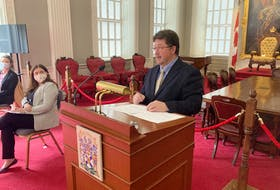 Lands and Forestry Minister Chuck Porter talks about two bills concerning biodiversity and Crown land at Province House on Thursday, March 11.