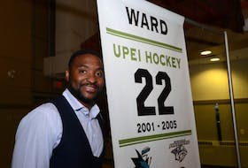 <p>Joel Ward was honoured with a banner raised in MacLauchlan Arena during a ceremony on Thursday.</p>