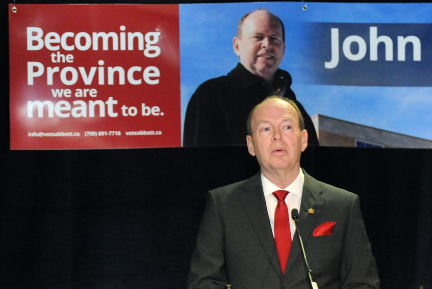 Former provincial civil servant John Abbott announced his candidacy for the leadership of the provincial Liberal party before a crowd of about 75 supporters at the Sheraton Hotel in St. John's on Thursday morning. Joe Gibbons/The Telegram