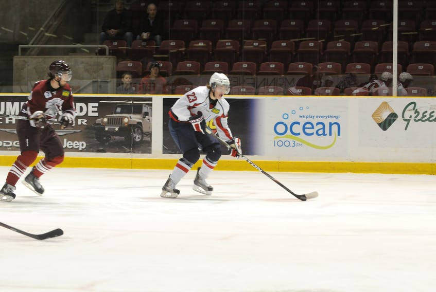 Ross Johnston, 23, in action with the Summerside Western Capitals of the MHL (Maritime Junior Hockey League) during the 2011-12 season.