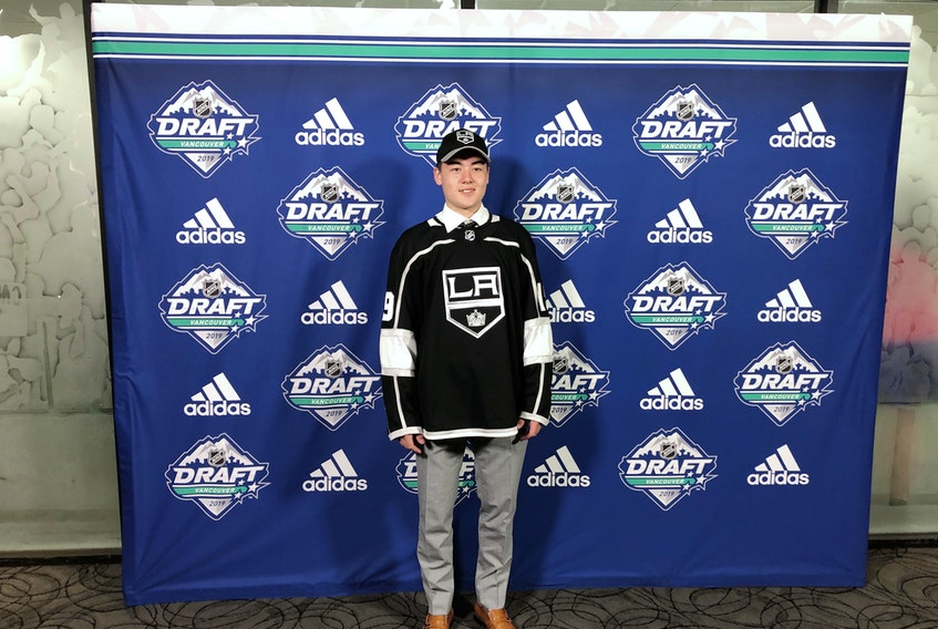 Jordan Spence of Cornwall was drafted by the Los Angeles Kings in the fourth round, 95th overall, of the 2019 National Hockey League Entry Draft in Vancouver on Saturday afternoon.