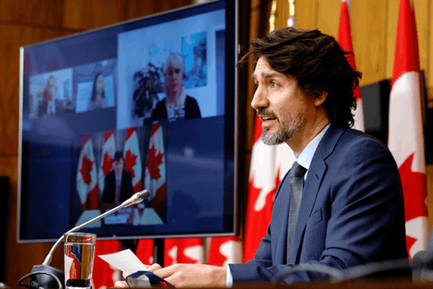 Prime Minister Justin Trudeau speaks at a news conference in Ottawa on March 5, 2021.