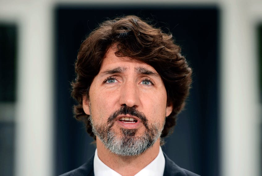 Prime Minister Justin Trudeau holds a news conference regarding the COVID-19 pandemic at Rideau Cottage in Ottawa on June 9, 2020.