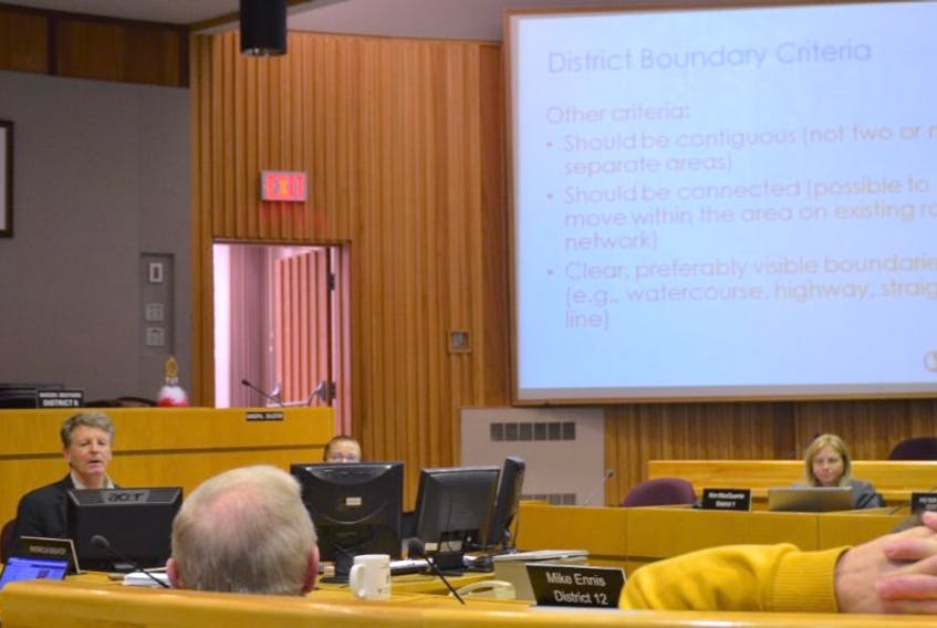 Stantec Consulting senior planner John Heseltine presents the findings of an electoral boundary review to Kings County councilors during a Nov. 17 meeting.