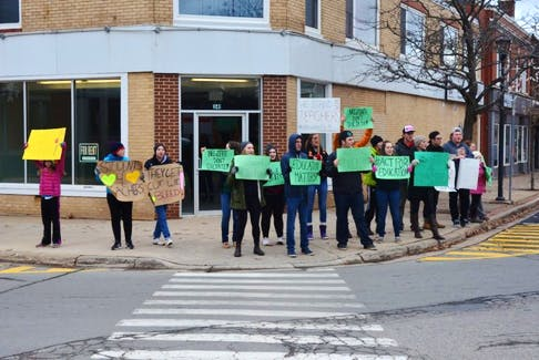 Students gather at the corner of Cornwallis and Main streets in Kentville Dec. 4 in a peaceful demonstration in support of teachers.