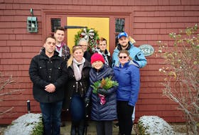 In December, NSCC Horticulture and Landscape Technology students and faculty presented Kent Lodge owner Patricia Moore, front, third from left, with a bouquet and Christmas wreath. Also on hand were Cody Whynot (back, left) Sheri Eaton, Shawna Hannam, Wayne Moores, Andrew Hague (front, left) faculty member Michelle Muise and Amanda Greeno.
