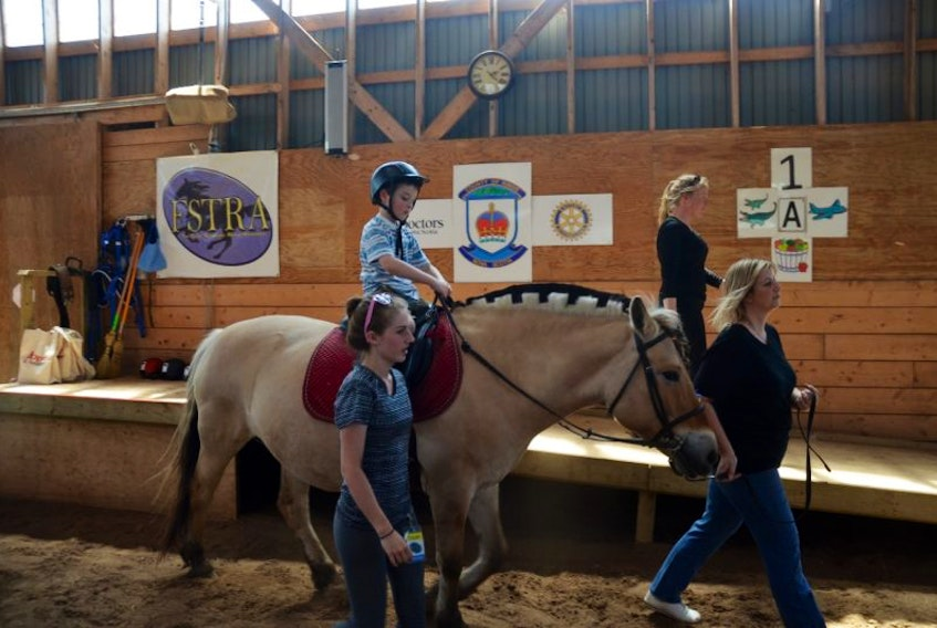With the help of Free Spirit Therapeutic Riding Association volunteers, five-year-old Mason Diehl gets ready to work with therapy horse Stella.