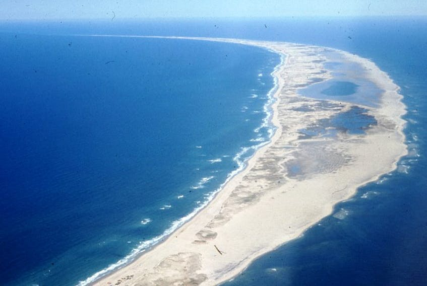 An aerial view of fabled Sable Island, which is home to about 500 wild ponies.