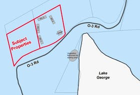 This graphic from a November 2015 County of Kings staff report to the planning advisory committee illustrates the approximate location of the RV's on the subject properties at Lake George.