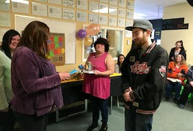 LifeStreams students Cassie Ripley, Jody Deveau and Edith Farris recognize Sobeys Fast Fuel employee Morgan Cowie at the Valley Community Learning Association's Honouring Employees – Everyday Heroes celebration. - Contributed
