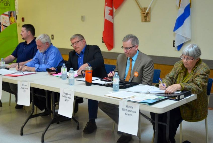 Kings South provincial election candidates prepare for a forum at the Coldbrook and District Lions Hall on May 23.