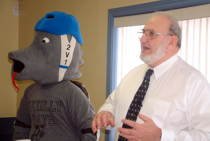 The Valley Chapter of the Brain Injury Association of Nova Scotia (BIANS) was once very active. One initiative was introducing a mascot, Skully. Past president Jake MacDonald of Wolfville is pleased to see the re-introduction of the Inroads Program but says government support is needed. - File Photo