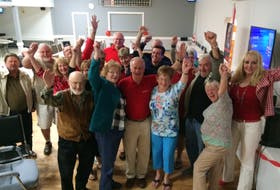 Kings West incumbent Leo Glavine, centre, celebrated his fifth consecutive general election win surrounded by supporters in the Aylesford & District Lions Hall May 30.