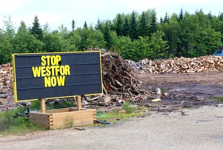 This protest sign can be seen from Highway 12 near New Ross.