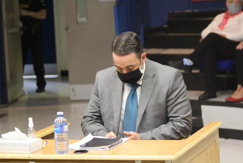 RNC Const. Doug Snelgrove during a break in his sexual assault trial in St. John's Thursday. The trial has now concluded and the jury has been sequestered to discuss a verdict.