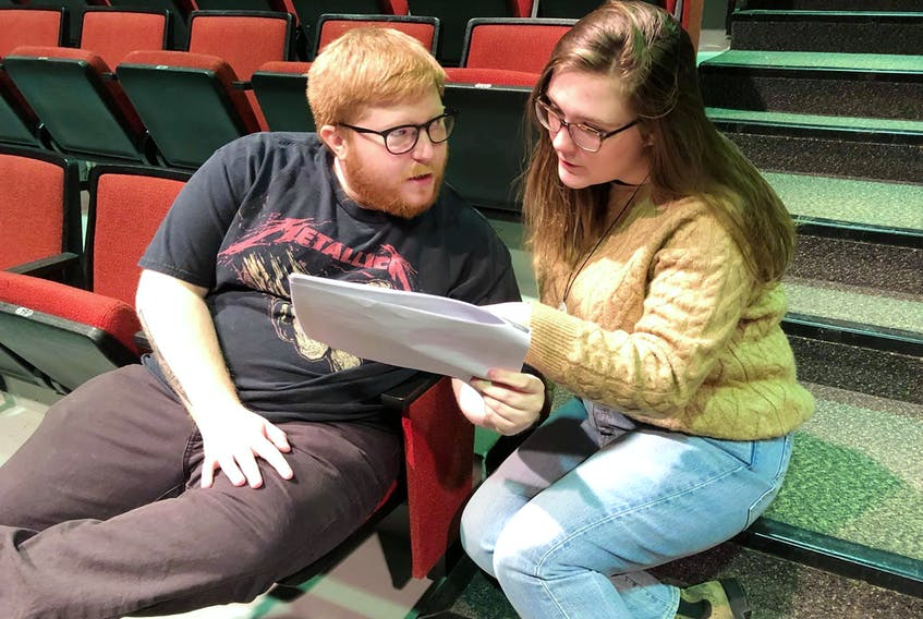 """Writer-director Bridget Baldwin, consults with actor Bryan Nash during a recent rehearsal of """"Transitions: A Monologue Presentation"""" which will be on stage Saturday, March 21 at 7:30 p.m. at the CBU Boardmore Playhouse. Contributed"""