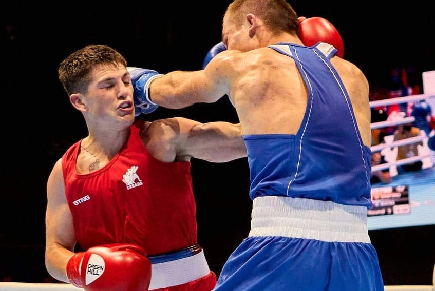 Kennetcook's Wyatt Sanford, left, is among 13 Canadians selected by Boxing Canada to compete in the Americas Olympic Qualification in Buenos Aires this May. - Bryan Li Photo