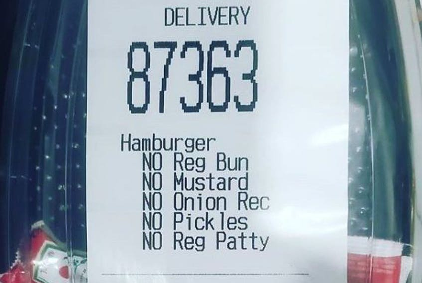 A Toronto woman drunkenly ordered a McDonald's hamburger without the burger and only wanted two ketchup packets, according to her husband @jodypooole on Instagram. The food delivery came as requested.