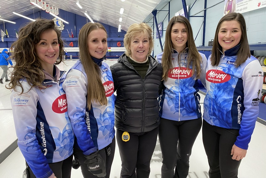The Mayflower rink of skip Jill Brothers, left, third Erin Carmody, fifth Kim Kelly, second Jenn Brine and lead Emma Logan will represent Nova Scotia at the Scotties Tournament of Hearts in Calgary, beginning Feb. 19 Contributed