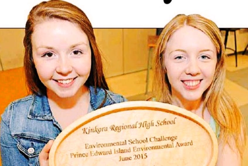 Kinkora Regional High School students Leah Craig andCassie Murray accepted a P.E.I. Environmental Award on behalf of their school, Wednesday.