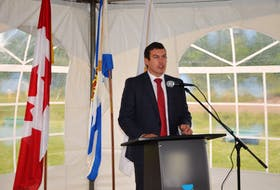 Kody Blois, MP for Kings-Hants, speaks at a waste water infrastructure project announcement in Shubenacadie on Friday, Sept. 18.