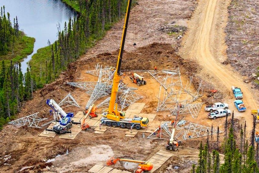 Construction on the 1,100 kilometer Labrador-Island transmission link.