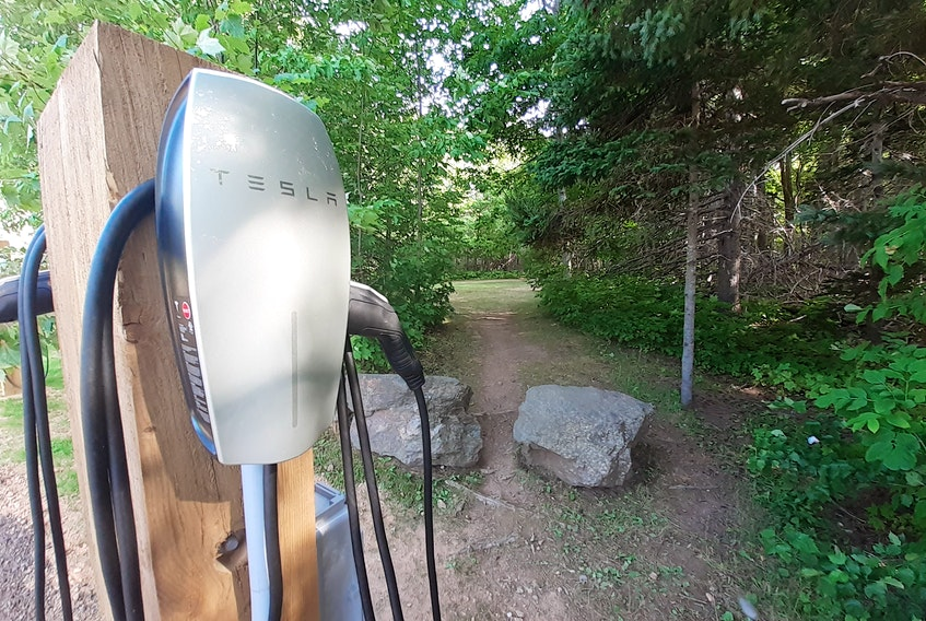 A Tesla electric vehicle charging station is seen at MacIntosh Brook Trail in Pleasant Bay. Parks Canada will install 350 electric vehicle charging stations at its sites across the country, including 64 in Cape Breton. Contributed/Parks Canada