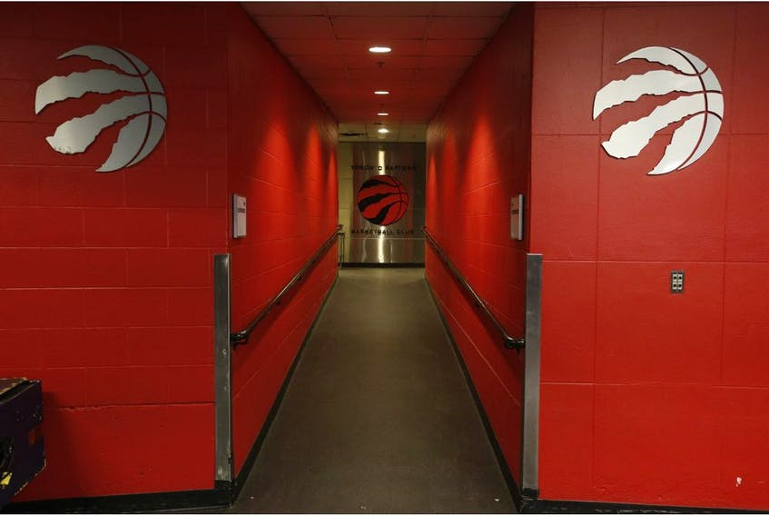 Inside the Scotiabank Arena it was supposed to be game day until the NHL suspended operations - along with other leagues - as the Covid-19 Coronavirus pandemic takes hold throughout the world. (Pictured) Hallway to the Raptors dressing room in Toronto on Thursday March 12, 2020. Jack Boland/Toronto Sun/Postmedia Network