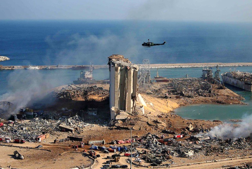 The damaged grain silos of Beirut's harbour and its surroundings on Wednesday, one day after a powerful twin explosion tore through Lebanon's capital, resulting from the ignition of a huge depot of ammonium nitrate at the city's main port. REUTERS