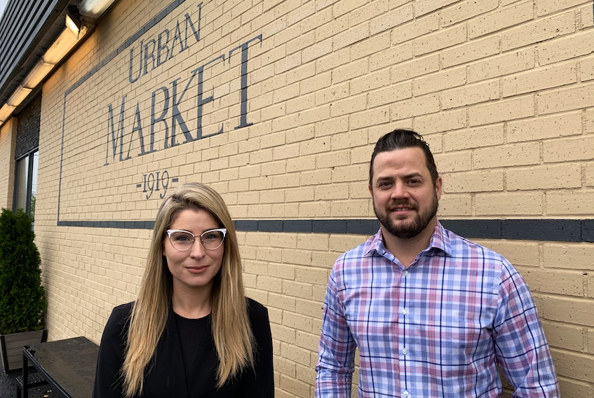 Ivy Allan, left, and Greg Hanley are the co-owners of Urban Market 1919, a new grocery store on the west end of LeMarchant Road in St. John's. The owners plan to open the store in November. — Andrew Robinson/The Telegram