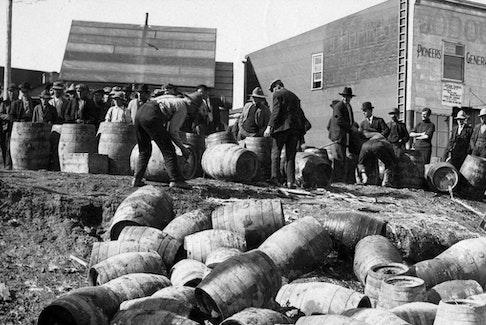 A police raid at Elk Lake, Ontario, 1925. - Archives of Ontario.