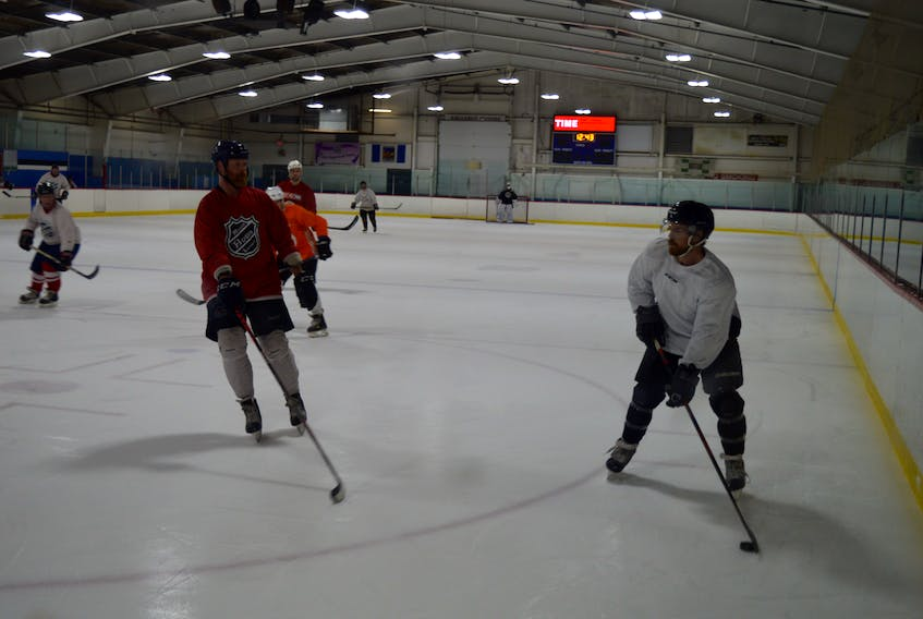 Players take part in a recreational hockey game at the Simmons Sport Centre in Charlottetown on Wednesday.