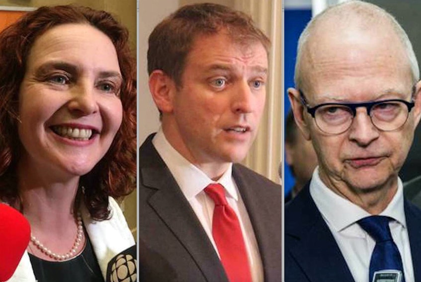 (From left) NDP Leader Alison Coffin, Liberal Leader Andrew Furey and PC Leader Ches Crosbie. The NL Alliance also has candidates running in the provincial election, but that party's leader had to step aside for medical reasons. — File photos