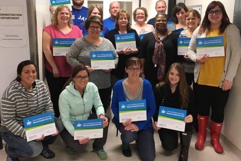 A group of community representatives from Twillingate and New World Island took part in a Mental Health First Aid training course recently. They were able to partake in the course thanks to funds raised at the annual Remembering Robbie 5K Walk/Run. Included are (front, from left) Patti Hicks-Brown, Melissa Blackler, Noreen Stewart, Laura Gushue, Phalyn Anstey; (middle) Pamela Compton, Paula Gale, Bonnie Parsons, Sandra McKellar, Cheryl Cassel; (back) Dan Burke, Amanda Rogers, Craig Clarke, Karen Chipman, Grant White and Sharon Mercer.