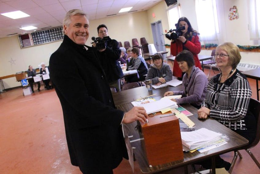 """Liberal Leader Dwight Ball said he marked an X for """"the first name on the ballot"""" when he cast his vote in Deer Lake Monday morning. — Photo by James McLeod/The Telegram"""