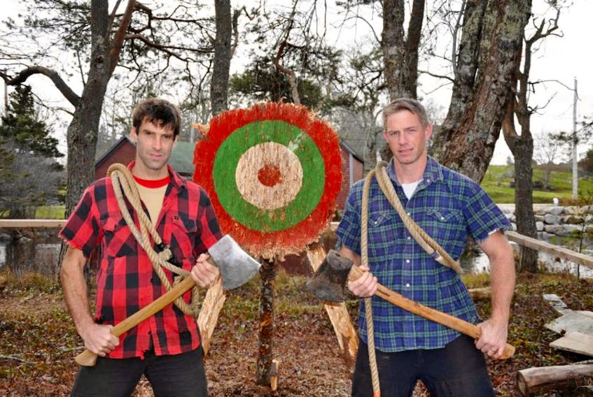 """<p align=""""center"""">Two rugged lumberjacks will face off using axes, saws, electric chainsaws and trash talk when Darren Hudson's Wild Axe Productions hits the Osprey stage on Saturday, April 18 at 8 p.m.</p>"""