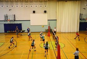 Kensington Torchettes captain Maddy Rogers, 5, focuses on the ball during a scrimmage against the Kinkora Blazers at Kensington Intermediate-Senior High School (KISH) on Thursday. The Torchettes will host the 45th annual KISH Volleyball Extravaganza on Friday and Saturday.