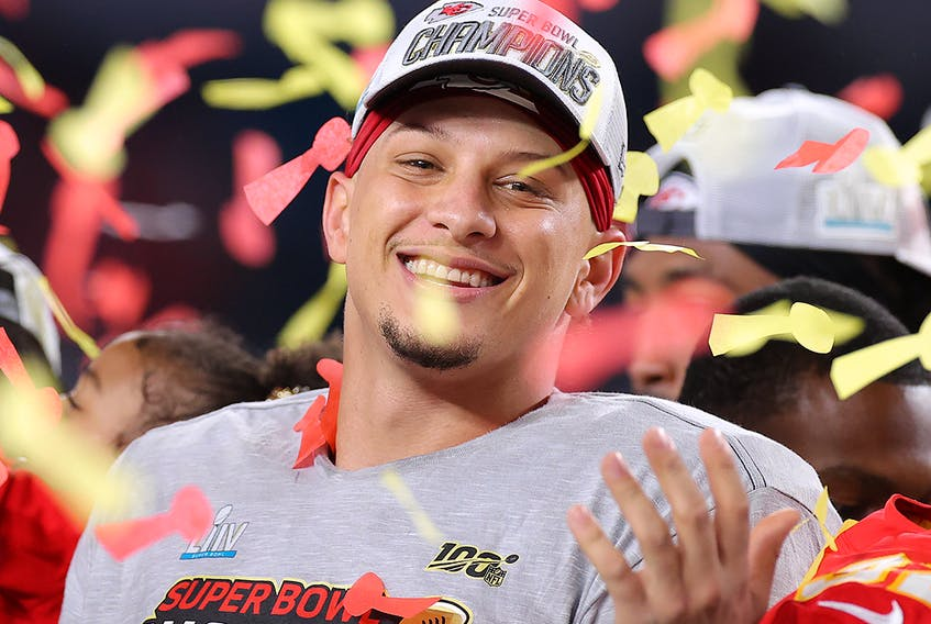 Patrick Mahomes of the Kansas City Chiefs celebrates after defeating the San Francisco 49ers in Super Bowl LIV at Hard Rock Stadium on February 2, 2020 in Miami. (Kevin C. Cox/Getty Images)