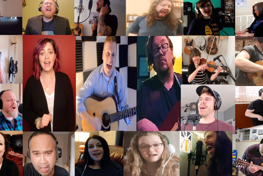 """Award-winning singer/songwriter Adam Baxter (centre, with guitar) recruited 20 or so musicians to perform on his new track, """"All My Friends."""" He used individually-recorded clips of them all to compile a music video, which he released online this week. CONTRIBUTED PHOTO"""