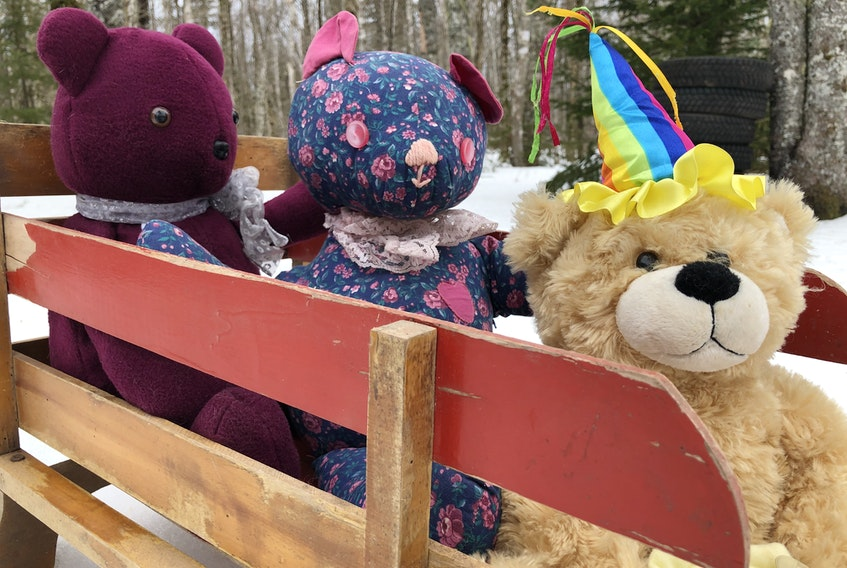 These teddies are ready to go on a bear hunt of their own.