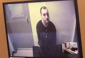 Gregory Pike attended his sentencing hearing in provincial court in St. John's via video from Her Majesty's Penitentiary Wednesday morning. He was sentenced to three months in prison for his role in an assault on a fellow inmate last August. SCREEN GRAB