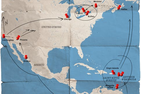 An overview of smuggling routes used by 'El Chapo' Guzman's Sinaloa Cartel, and other groups, to move cocaine between South America and Canada.