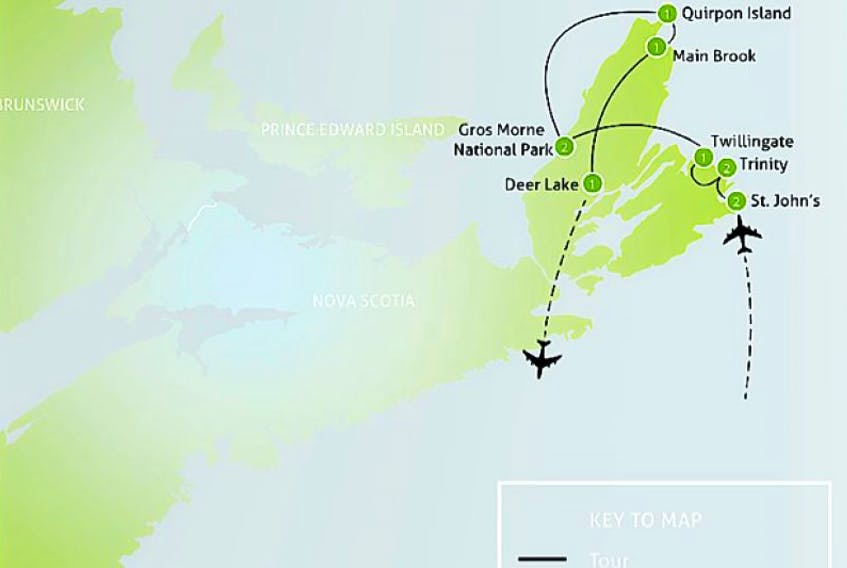 """This map of """"Newfoundland"""" appeared in a brochure for Calgary-based Anderson Vacations. Liberal MHA Stelman Flynn wanted answers from the government about the situation, since the map clearly actually shows Newfoundland place names on a map of Cape Breton."""