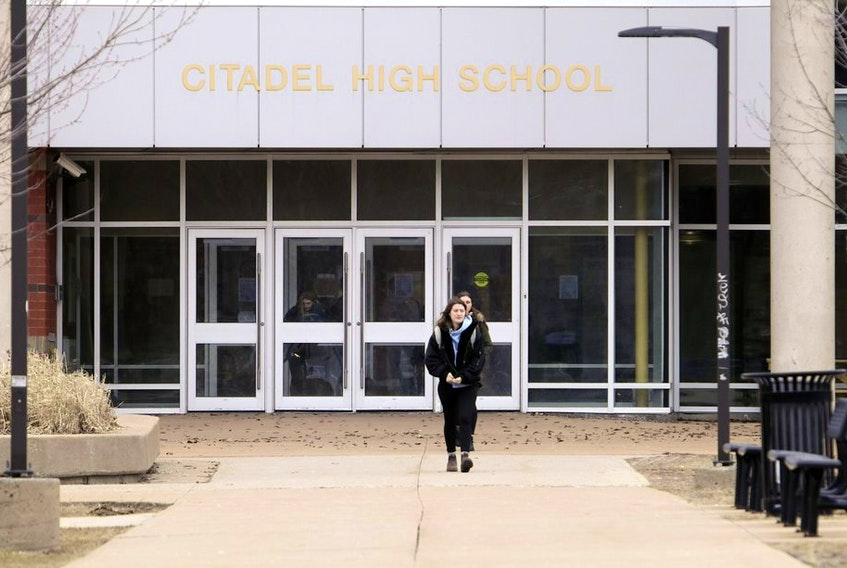 Students start to file out of Citadel High School in Halifax on Friday, the last day of school in Nova Scotia before the March break.
