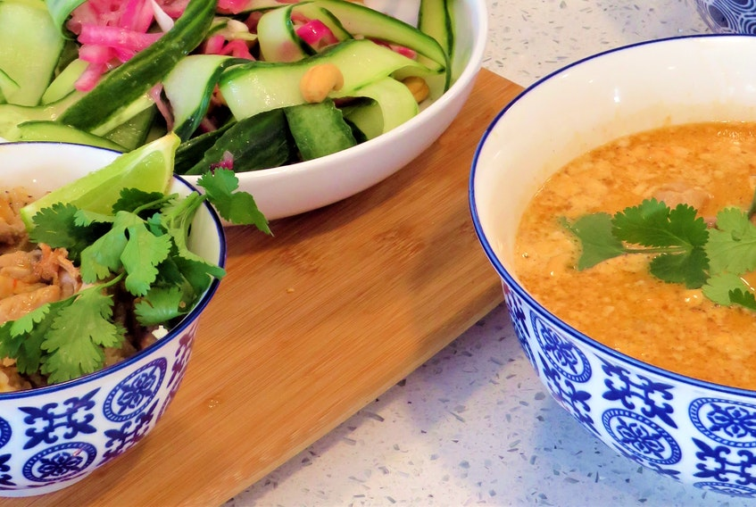 Mark DeWolf suggests servings a Thai cucumber salad as a cooling contrast to the heat of curry.