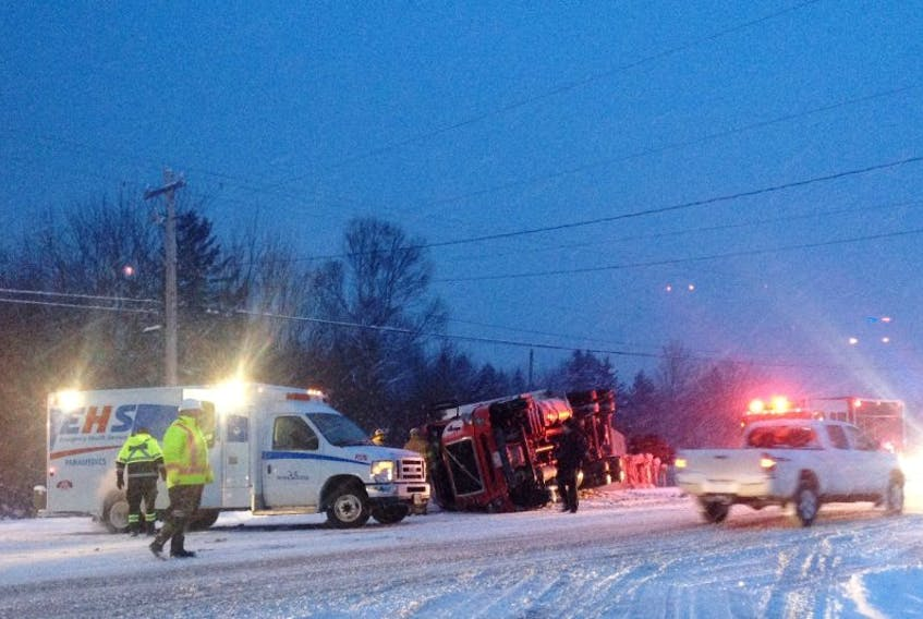 <p>A tractor-trailer slid into the ditch at the Middle Cross Road in Marshalltown on Highway 101 about 7:30 a.m. Jan. 9.</p>