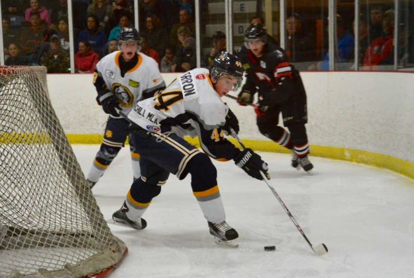 <p>Matt Barron on the ice playing with the Junior A Mariners. Barron grew up around the team.</p>