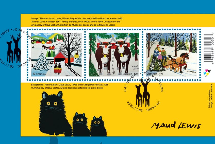 Three works by Nova Scotia folk artist Maud Lewis have been used for Canada Post's 2020 Christmas collection
